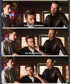 "X-Men First Class- Hugh Jackman accepted the opportunity to cameo as Logan/Wolverine when he learned he would be the only character in the film to use the word 'fuck'. He improvised the line, ""Go fuck yourself,"" after using 7 other takes to say, ""Fuck off"". The reaction from McAvoy and Fassbender to the different line was authentic."