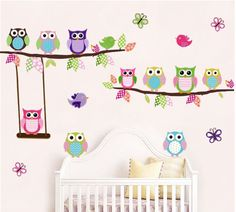 Animal Wall Stickers Owl Monkey Jungle Zoo Tree Nursery Baby Bedroom Decals Art…