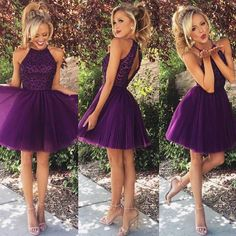Halter High Neck Purple Homecoming Dresses,Beaded Bodice Tulle Skirt,Hot57