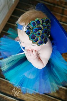 I'm generally not crazy about the tutus but I love Peacock headband.it's so different from the majority of the headbands you see nowadays. Cute Kids, Cute Babies, Baby Kids, Baby Baby, Toddler Girl, Feather Headband, Feather Hair, Peacock Feathers, Peacock Colors