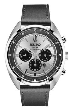 Seiko Men's 'RECRAFT' Quartz Stainless Steel and Leather Casual Watch, Color:Black (Model: SSC569)