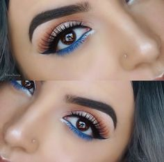 Prom Makeup For Brown Eyes, Prom Makeup Looks, Blue Eye Makeup, Smokey Eye Makeup, Eyeliner Brown Eyes, Halo Eye Makeup, Blue Makeup Looks, Makeup Stencils, Eyeliner Stencil