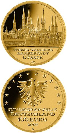 100 euro: UNESCO Welterbe Lübeck.Country: Germany Mintage year:2007 Issue date:01.10.2007 Face value:100 euro Diameter:28.00 mm Weight:15.55 g Alloy:Gold Quality:Proof Mintage:330,000 pc proof Design:Bodo Broschat Mint:A,D,F,G,J Issue price:285,00 Euro