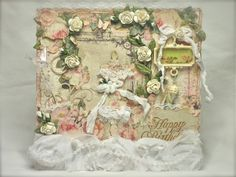 Shabby Chic birthday card using Prima's Tea Thyme papers and embellies. Flowers are Prima and IamRoses. Also used Tim Holtz dress form.