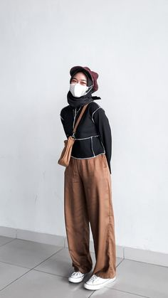 Hijab outfit earth tone ootd for teenager Hijab Outfit, Earth Tones, Normcore, Ootd, Pants, Outfits, Style, Fashion, Trouser Pants