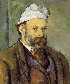 Autorretrato con gorro blanco. Paul Cézanne.