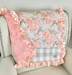 blush chevron pink blanket blush minky rose swirl baby blanket Gold
