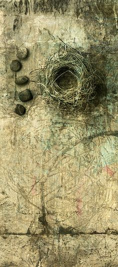 A birds nest with some small river stones photo based illustration.