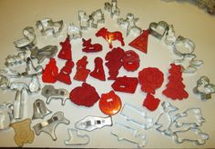 Large Lot Vintage Red Plastic Cookie Cutters by suburbantreasure, $35.00