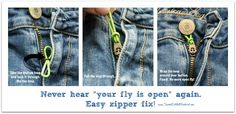 QUICK FIX FOR A LOOSE ZIPPER ON JEANS & PANTS...