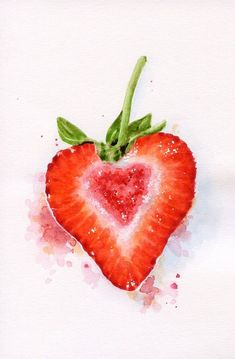 Heart Shaped Strawberry - ORIGINAL Miniature Painting (Food Illustration, Still Life, Watercolour Food Wall Art) 4 x 6 in Watercolor Fruit, Fruit Painting, Watercolour Painting, Painting & Drawing, Watercolors, Paintings Of Fruit, Food Art Painting, Watercolor Paintings For Beginners, Food Drawing
