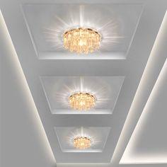Modern Crystal LED Ceiling lights Fixture Indoor Lamp lamparas de techo LED Hallway Foyer Ceiling Lights Home Decor Led Ceiling Light Fixtures, Led Ceiling Lights, Light Fittings, Wall Lights, Home Lighting, Modern Lighting, Pop Ceiling Design, Plafond Design, Modern Ceiling