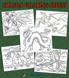 Dragon Coloring Sheets Digital Printables 8.5x11 by CleverVectors