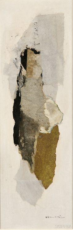Horiuchi, Paul (Chikamasa); Watercolor & Collage, signed 1967, Winter Memory, 29 inch.