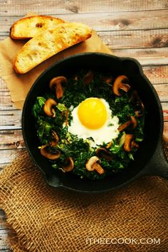 I Thee Cook: Spicy Mushroom Kale with Egg