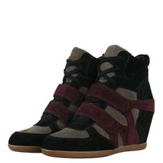 Ash 84945 Bea Multi Womens Wedge Trainers AW12 Black/Taupe/Prune from www.hypedirect.com Womens Wedge Trainers, Wedged Trainers, Sports Footwear, Taupe, Wedges, Sneakers, Shoes, Black, Fashion