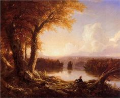 Indian at Sunset - Thomas Cole