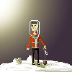 Pixel guy on a moon. Game Design, Web Design, Cool Pixel Art, Isometric Art, Astronauts, 8 Bit, Deep Sea, Perler Beads, Art Images