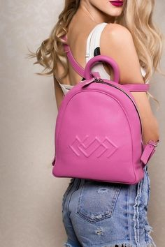 Catherine Small Backpack in Pink Leather Handbags, Leather Bag, Small Backpack, Leather Accessories, Natural Leather, Italian Leather, Travel Bags, Fashion Backpack, Pink Bags