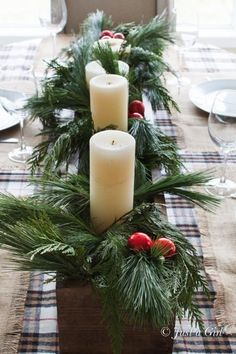 Easy centerpiece for a Christmas tablescape. Love the look of this and the aroma from the fresh pine would smell heavenly. Pair with a flannel table runner for a beautiful look.