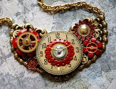 Clockwork Rose Steampunk Flower Necklace  Vintage by bionicunicorn