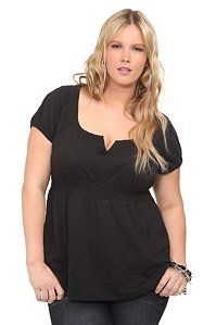 Twist Tees - Black Smocked Waist Emma Top | Tops
