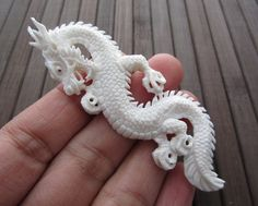 Excellent  Hand Carved Buffalo Bone Asia dragon   by cabcabana, $20.00