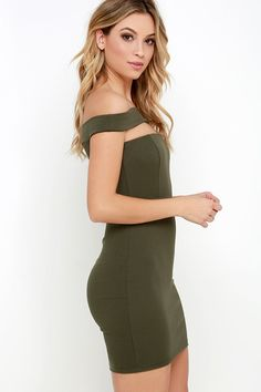 Modern Take Olive Green Off-the-Shoulder Dress at Lulus.com!