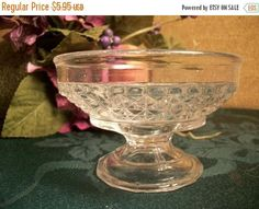 Pressed Glass Bowl Parfait Sherbet Ice Cream Pedestal Dish