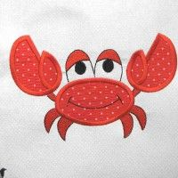 Crab Under The Sea Embroidered and Applique Quilt Block