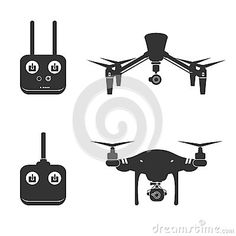 Drone Silhouette Video Aerial Fly Helicopter Stock Vector - Image: 57122169