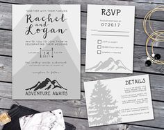 Hey, I found this really awesome Etsy listing at https://www.etsy.com/ca/listing/480583469/wedding-invitation-mountain-wedding