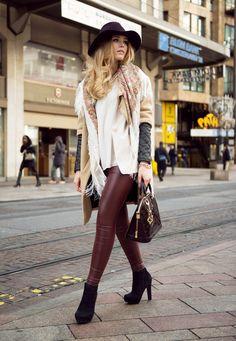 maroon leather leggings