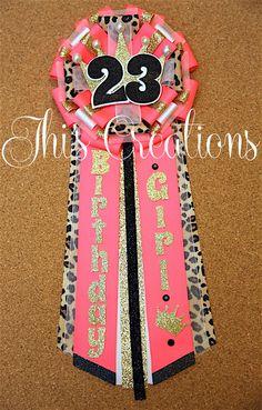 Tiffanys 23rd Birthday Pin Mum Corsage In Neon Pink Cheetah White