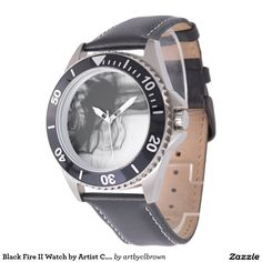 Black Fire II Stainless Steel Black Leather Watch Designed by Artist C.L. Brown. Watch is available in a variety of styles on Zazzle. #watch #watches #fashion #accessories #artbyclbrown