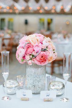 Sonoma Wedding from Jessica Burke + A Savvy Event Floral Wedding, Wedding Colors, Wedding Flowers, Fuschia Wedding, Reception Table Design, Mercury Glass Wedding, Low Centerpieces, Centrepieces, Wedding Trends