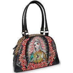 Liquorbrand Faith Punk Virgin Mary Rockabilly Tattoo Gun Handbag Purse