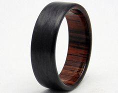 Carbon Fiber ring with Ancient Bog Oak by 2ndstreetringcraft