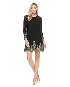 """Embroidered Lace Shift Dress in Pitch Black Embroidered - A-line mini dress. Round neckline. Long raglan sleeves with scallop trim. Loop button closure at back. Measures 35"""" from shoulder to hem 85% cotton, 15% polyamide Imported"""
