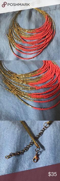 """I just added this listing on Poshmark: Orange and """"gold"""" multi length beaded necklace. #shopmycloset #poshmark #fashion #shopping #style #forsale #Jewelry"""