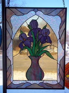 "Iris Panel --also found on the cover of ""Making Stained Glass Panels"" Book"