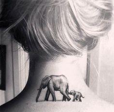 Elephant Tattoo Design on Back of Neck.