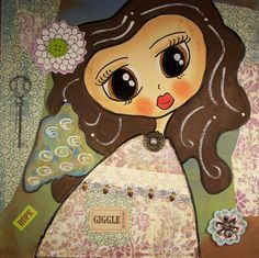 Original Mixed Media Collage Painting of Angel by Queenoftorts, $30.00