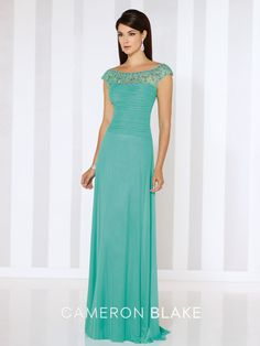 Stretch mesh slim A-line gown with hand-beaded illusion cap sleeves and bateau neckline, beaded illusion V-back, pleated semi-sweetheart bodice, sweep train. Matching shawl included. Sizes:4 – 20,16W – 26W Colors:Peacock, Jade, Eggplant