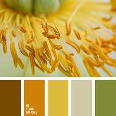 marrón, marrón rojizo, marrón verdoso, matices cálidos del marrón, naranja pardusco, tonos amarillos, tonos cálidos de color amarillo, tonos cálidos de colores pastel, verde, verde cálido, verde claro, verde grisáceo.
