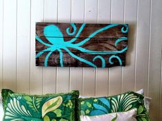 Painted Octopus on Reclaimed Wood: