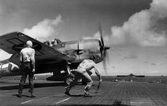 F6F-3 Hellcat fighter takes off from aircraft carrier USS Lexington during the Gilbert and Marshall Islands operations, 23 November 1943.