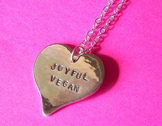 Silver Joyful Vegan Necklace close-up