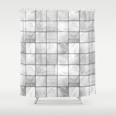 White & Silver Faux #Patchwork #Quilting Shower #Curtain by #Gravityx9 | #Society6 #HomeDecor -