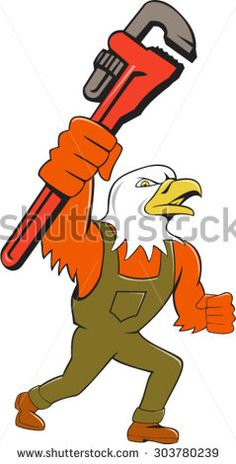 Illustration of an american bald eagle plumber holding monkey wrench looking to the side set on isolated white background done in cartoon style. #mechanic #cartoon #illustration